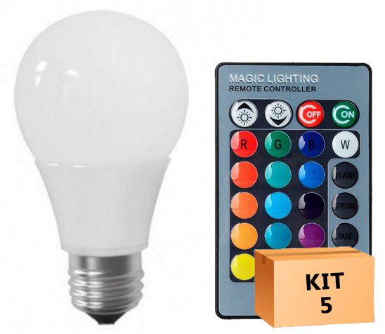 Kit 5 Lâmpada LED Bulbo 05W RGB