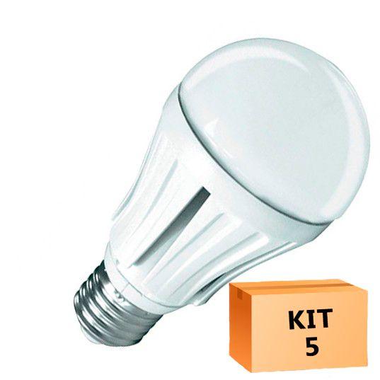 Kit 5 Lâmpada Led Bulbo 12W Branco Quente