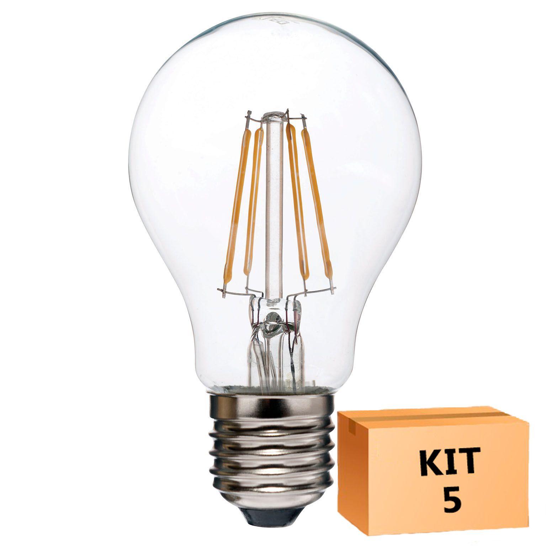 Kit 5 Lâmpada LED Filamento 4W Bulbo A60 Âmbar E27