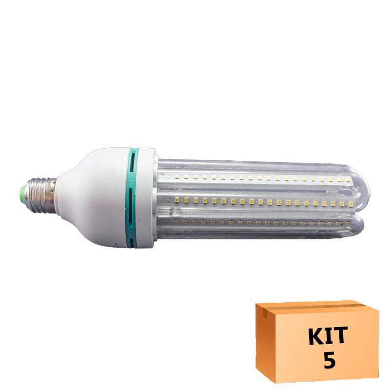 Kit 5 Lâmpada Led Milho 24W Branco Quente