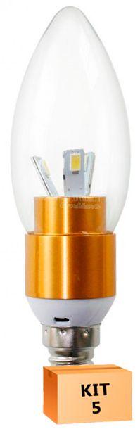Kit 5 Lâmpada Led Vela 03W Soquete E14 Branco Quente
