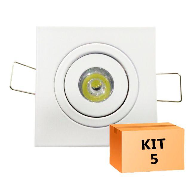 Kit 5 Mini Spot Led Direcionável Quadrado 1W Branco Frio 6000K