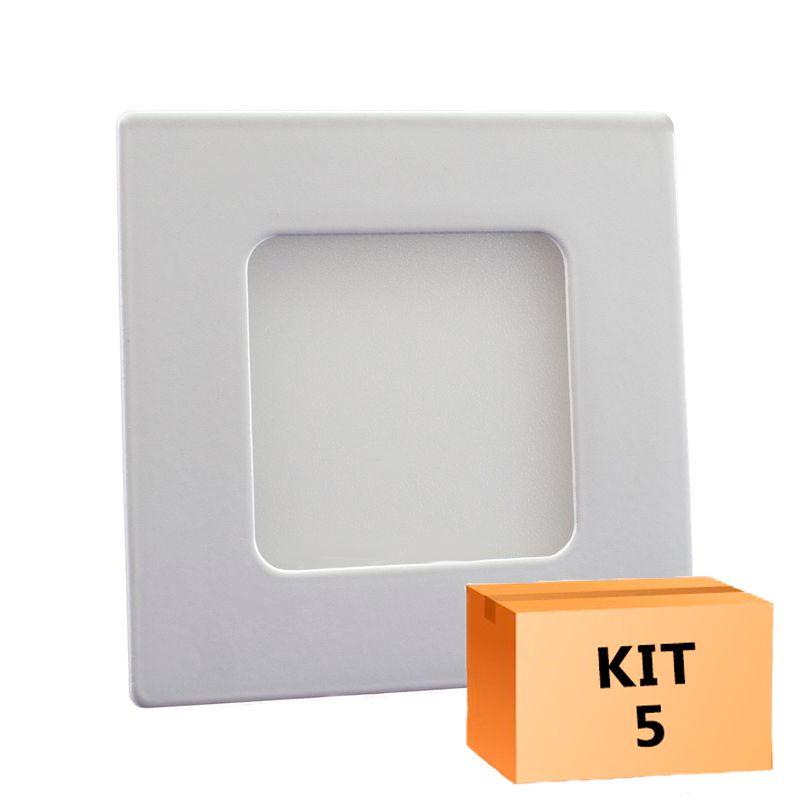 Kit 5 Plafon Led de Embutir Quadrado  03W - 08 x 08 cm Quente 3000K
