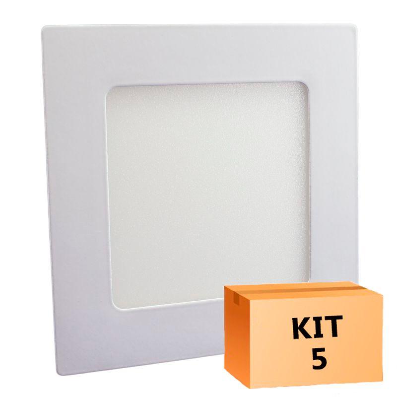 Kit 5 Plafon Led de Embutir Quadrado 06W - 12,5 x 12,5 cm Quente 3000K