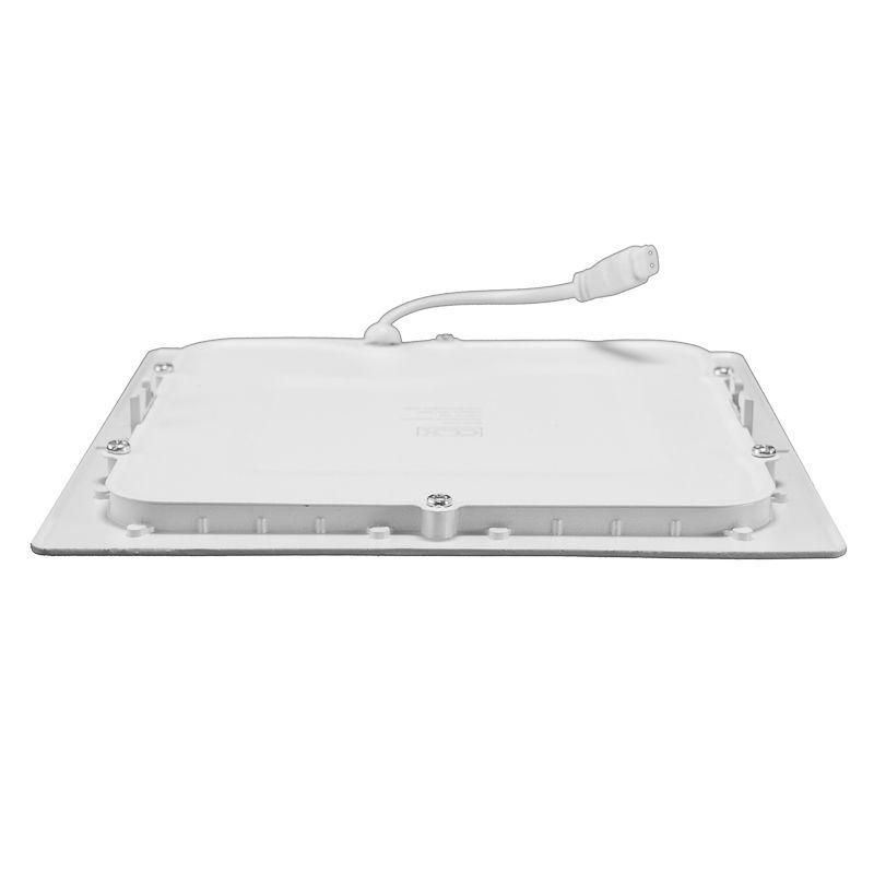 Kit 5 Plafon Led de Embutir Quadrado  12W - 17 x 17 cm Quente 3000K