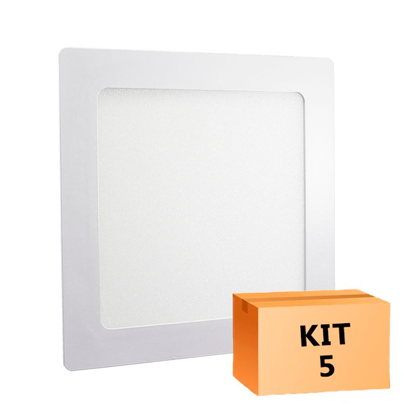 Kit 5 Plafon Led de Embutir Quadrado 18W - 22 x 22 cm Morno 4000K