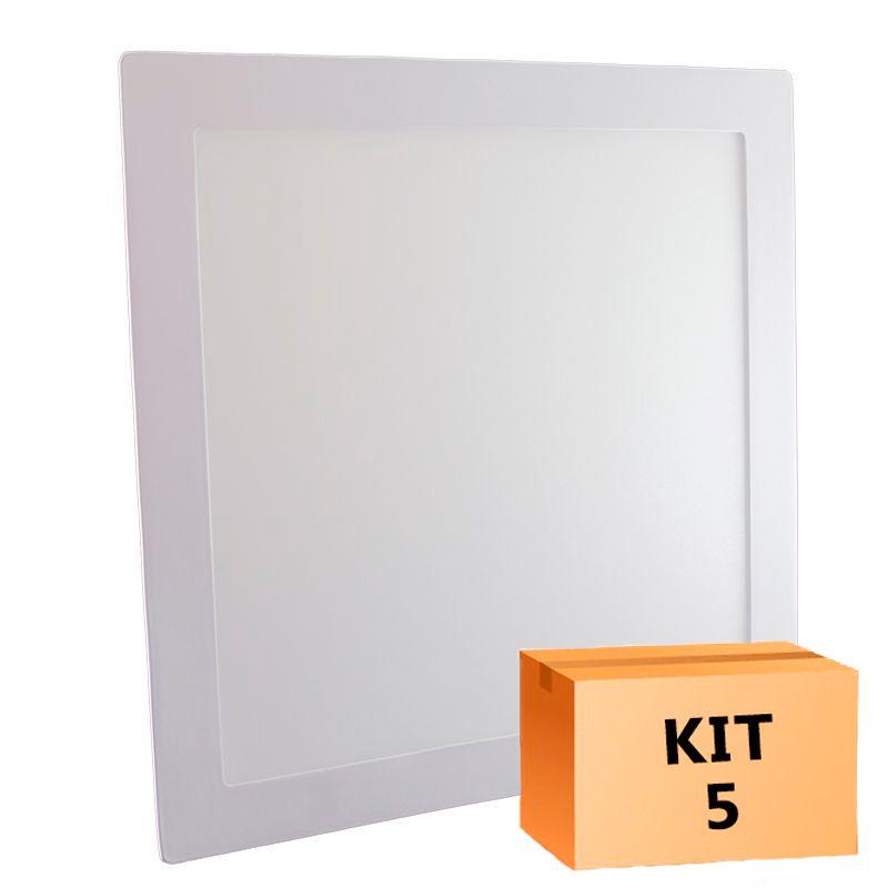 Kit 5 Plafon Led de Embutir Quadrado  24W - 30 x 30 cm Quente 3000K