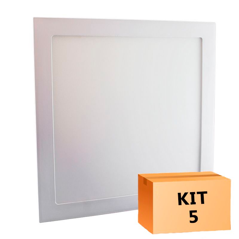 Kit 5 Plafon Led de Embutir Quadrado  32W - 30 x 30 cm Quente 3000K