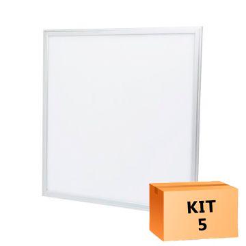 Kit 5 Plafon Led de Embutir Quadrado  36W - 40 x 40 cm Branco Frio 6000K