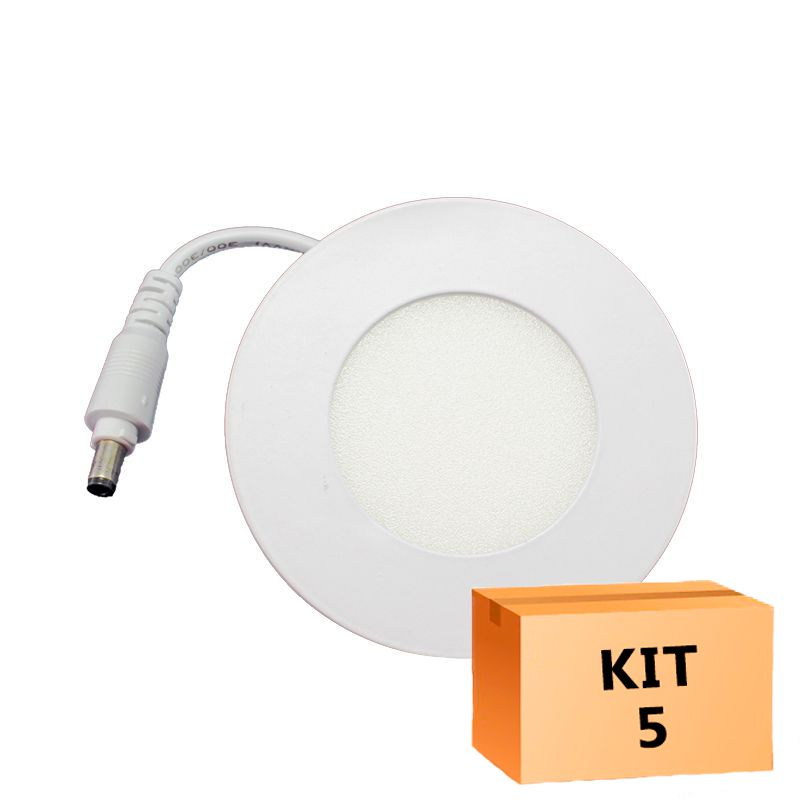 Kit 5 Plafon Led de Embutir Redondo  03W - 08 cm Quente 3000K