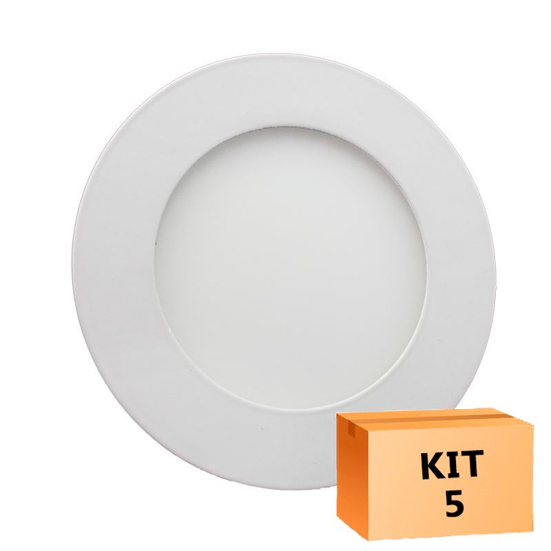 Kit 5 Plafon Led de Embutir Redondo  06W - 12,5 cm Quente 3000K