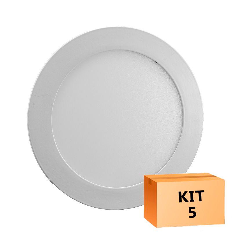 Kit 5 Plafon Led de Embutir Redondo  18W - 22 cm Branco Frio 6000K