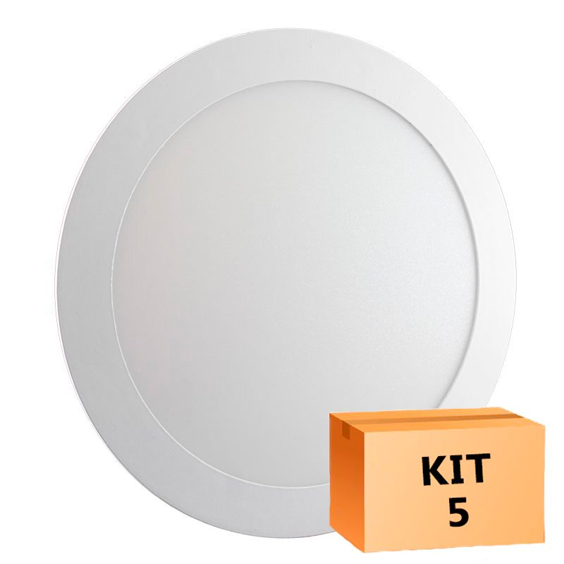 Kit 5 Plafon Led de Embutir Redondo 18W - 22 cm Branco Quente 3000K
