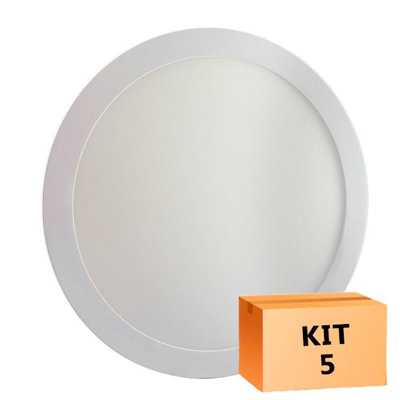 Kit 5 Plafon Led de Embutir Redondo  32W - 30 cm Branco Frio 6000K