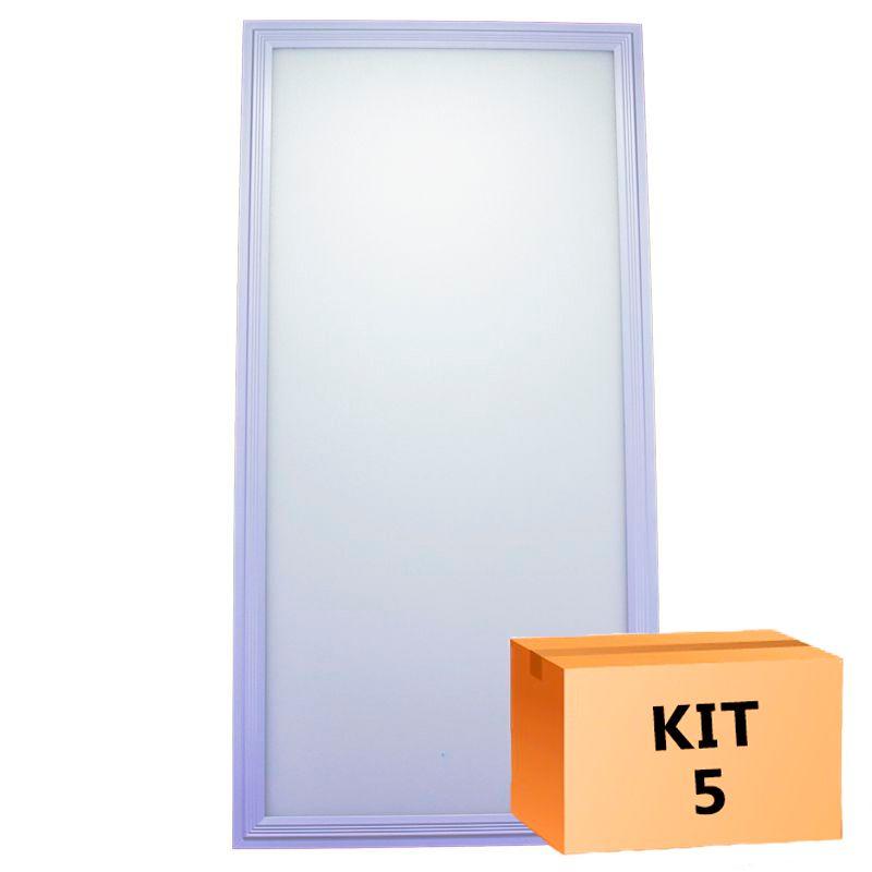 Kit 5 Plafon Led de Embutir Retangular  36W - 30 x 60 cm Branco Frio 6000K