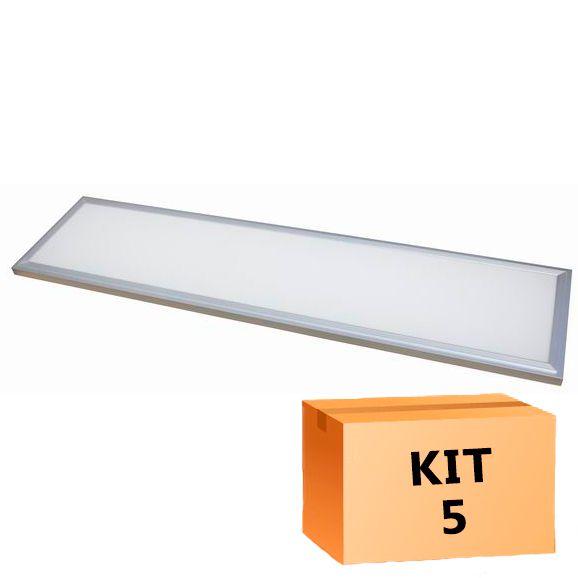 Kit 5 Plafon Led de Embutir Retangular  48W - 30 x 120 cm Branco Frio 6000K