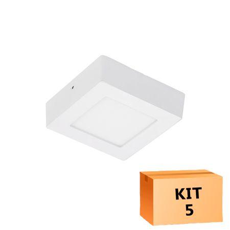 Kit 5 Plafon Led de Sobrepor Quadrado  06W - 12 x 12 cm Branco Frio 6000K
