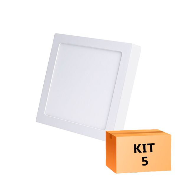 Kit 5 Plafon Led de Sobrepor Quadrado  12W - 17 x 17 cm Morno 4000K
