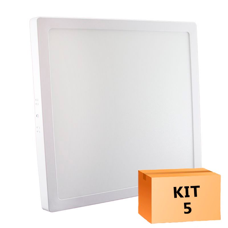 Kit 5 Plafon Led de Sobrepor Quadrado  24W - 30 x 30 cm Morno 4000K