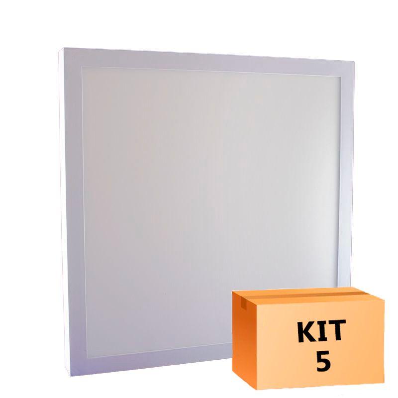 Kit 5 Plafon Led de Sobrepor Quadrado  36W - 40 x 40 cm Branco Frio 6000K