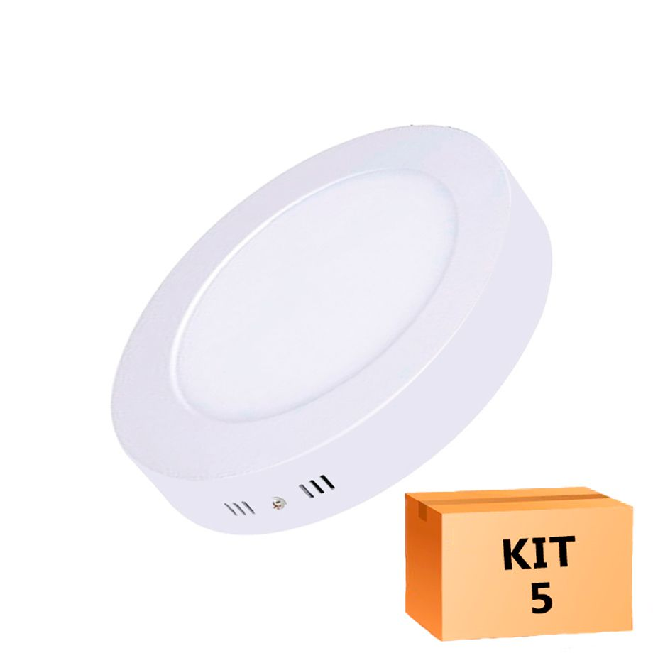 Kit 5 Plafon Led de Sobrepor Redondo  12W - 17,5 cm Morno 4000K