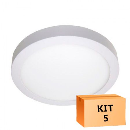 Kit 5 Plafon Led de Sobrepor Redondo  24W - 30 cm Morno 4000K