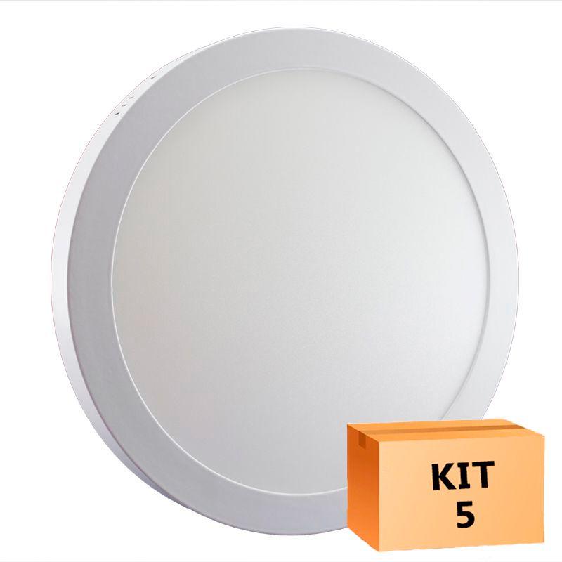 Kit 5 Plafon Led de Sobrepor Redondo  32W - 30 cm Branco Quente 3000K