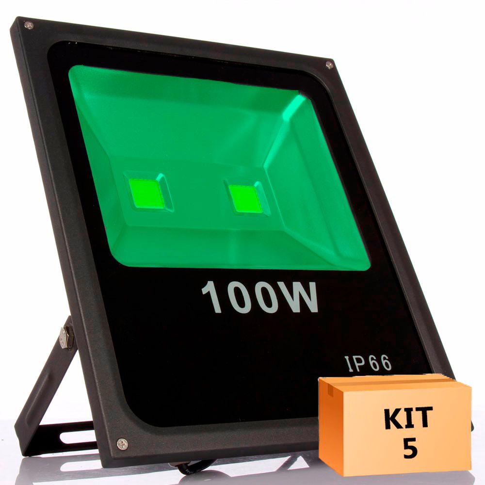 Kit 5 Refletor Led 100W Verde Uso Externo