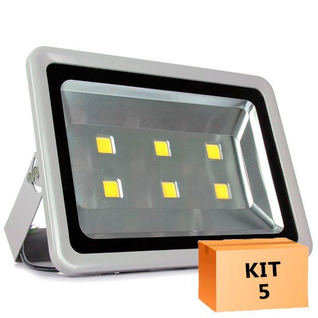 Kit 5 Refletor Led 300W Branco Frio Uso Externo
