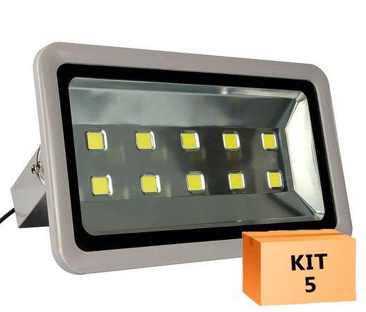 Kit 5 Refletor Led 500W Branco Frio Uso Externo