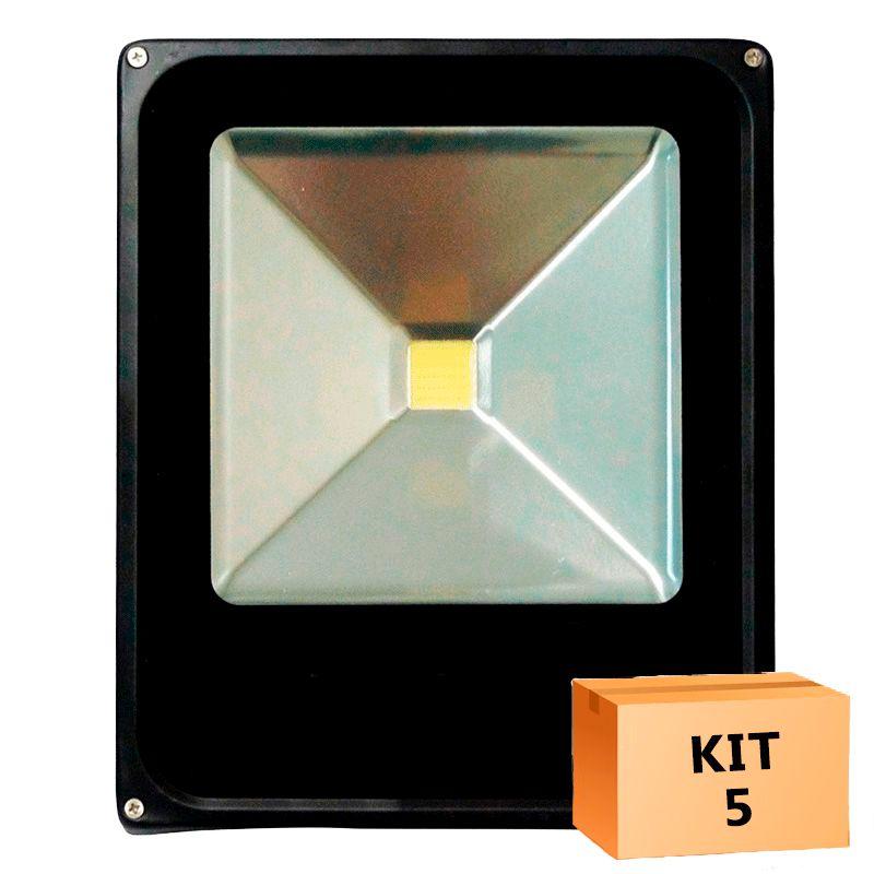 Kit 5 Refletor Led Slim 30W Branco Frio Uso Externo