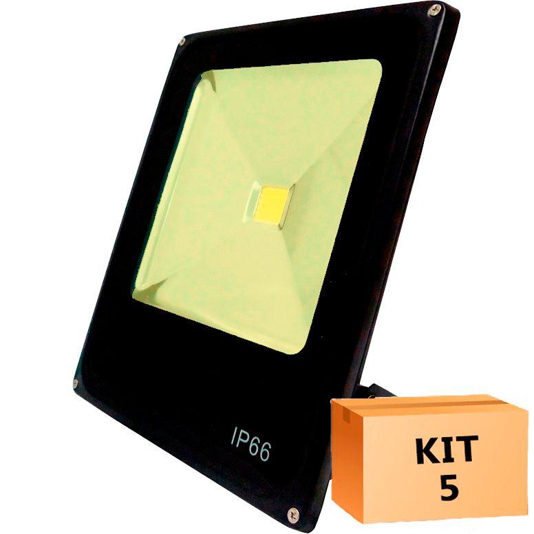 Kit 5 Refletor Led Slim 50W Branco Quente (Amarelo) Uso Externo