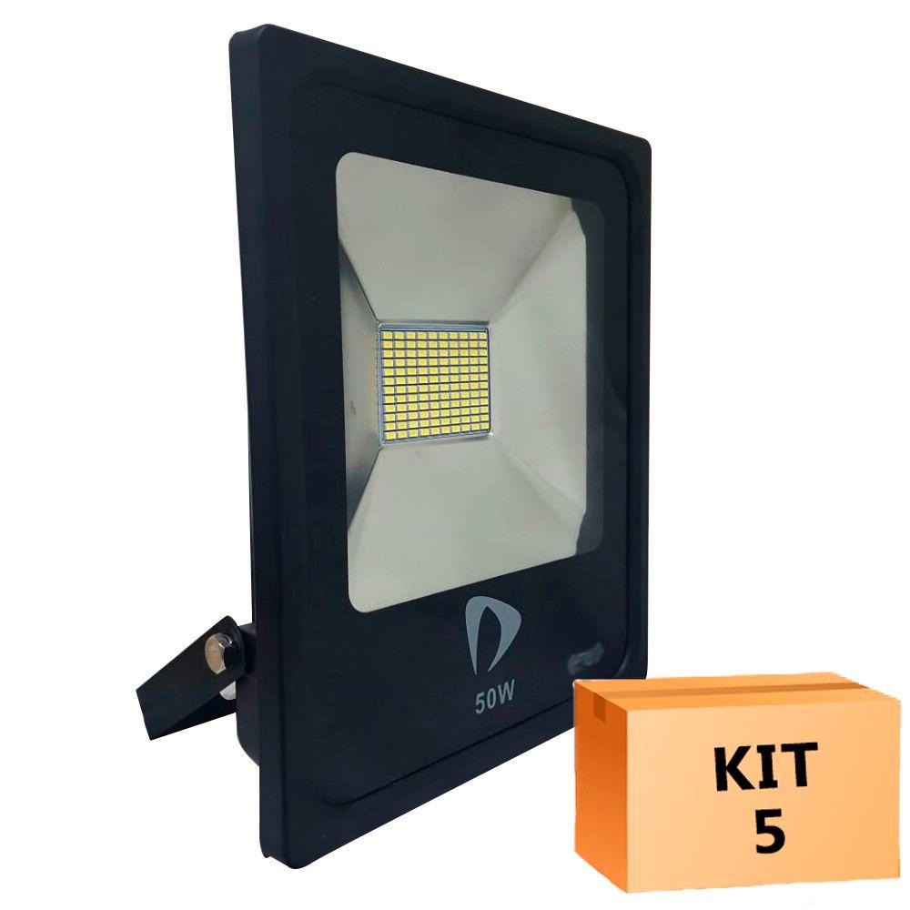Kit 5 Refletor Led Slim SMD 50W Branco Quente Uso Externo