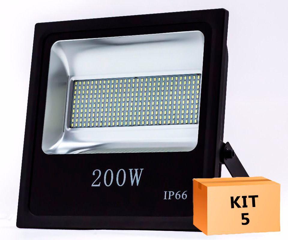Kit 5 Refletor Led SMD 200W Branco Frio Uso Externo