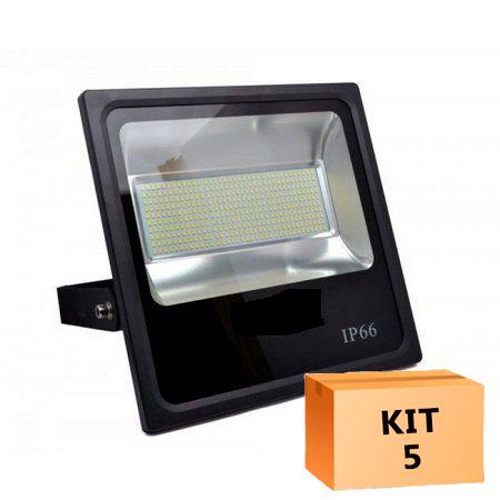 Kit 5 Refletor Led SMD 400W Branco Frio Uso Externo