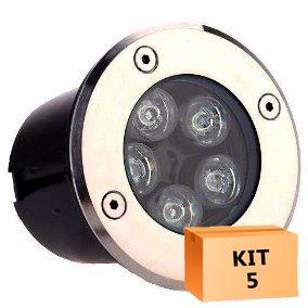 Kit 5 Spot Led Balizador 5w Branco Quente Blindado Embutido para Piso