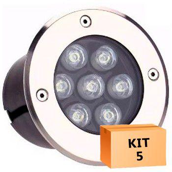 Kit 5 Spot Led Balizador 7w Branco Frio Blindado Embutido para Piso