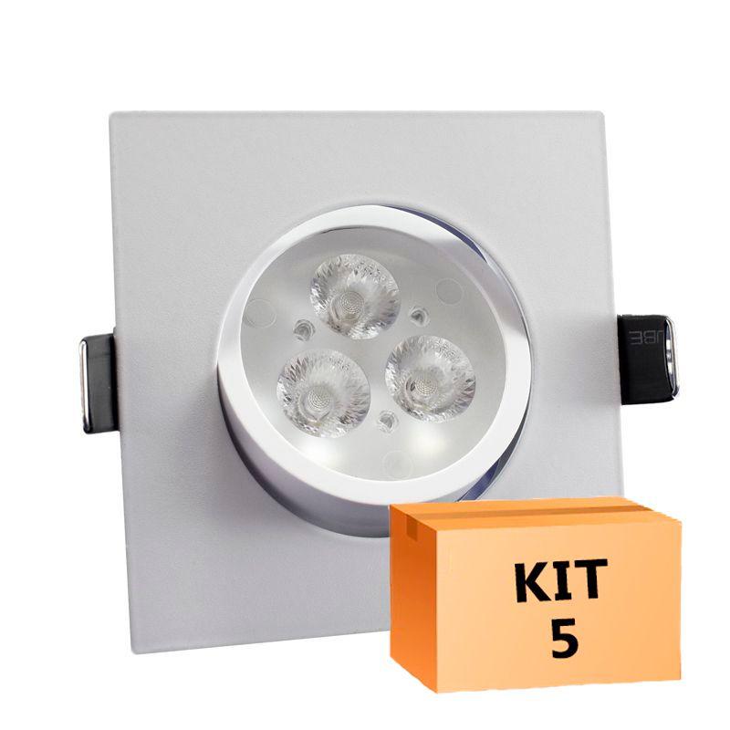 Kit 5 Spot Led direcionável Quadrado 3W Branco Frio 6000K