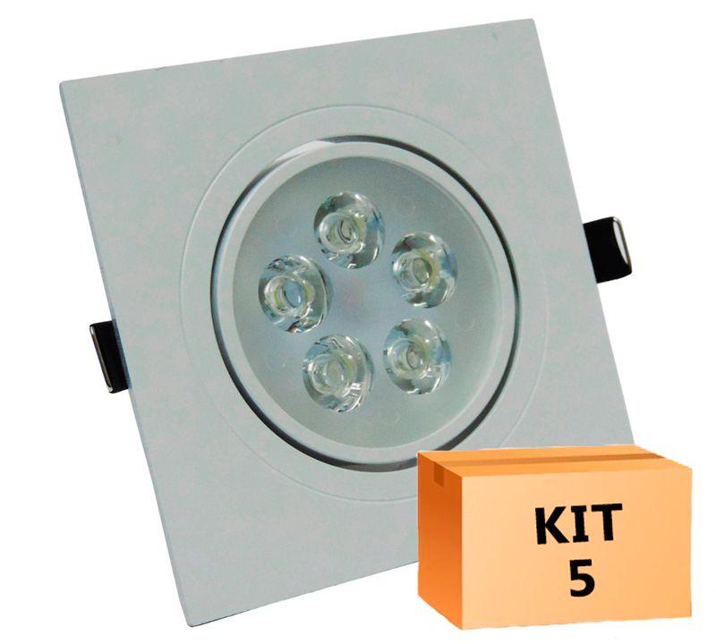 Kit 5 Spot Led direcionável Quadrado 5W Branco Frio 6000K