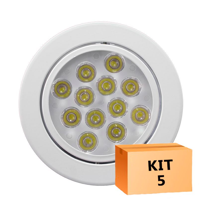 Kit 5 Spot Led Direcionável Redondo 12W Branco Frio 6000K