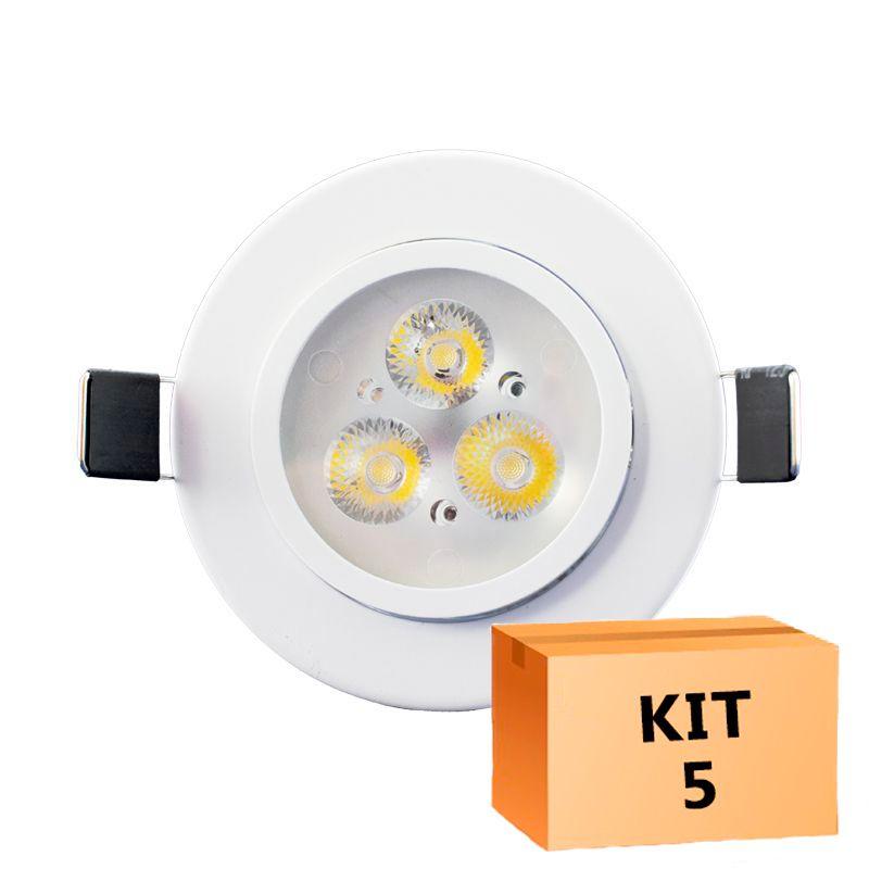 Kit 5 Spot Led Direcionável Redondo 3W Branco Frio 6000K