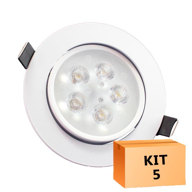 Kit 5 Spot Led Direcionável Redondo 5W Branco Frio 6000K