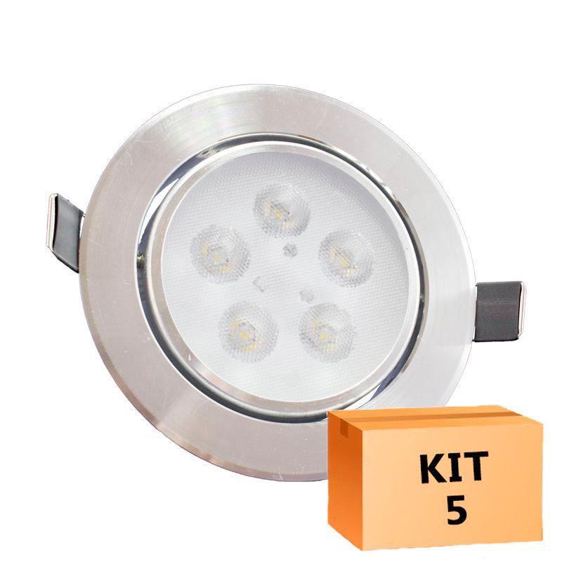 Kit 5 Spot Led Prata Direcionável Redondo 5W Quente 3000K
