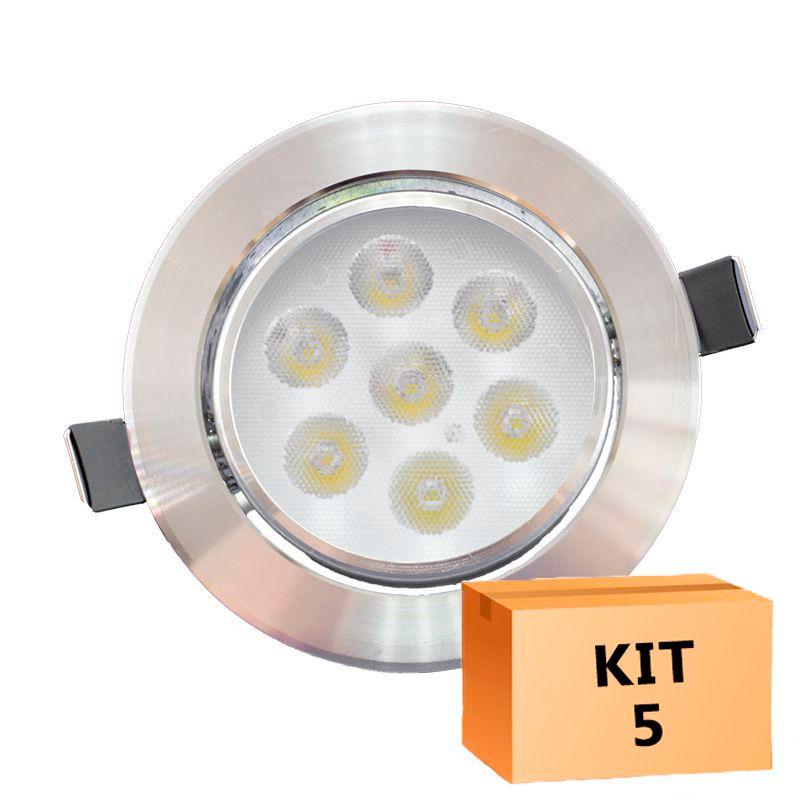 Kit 5 Spot Led Prata Direcionável Redondo 7W Quente 3000K