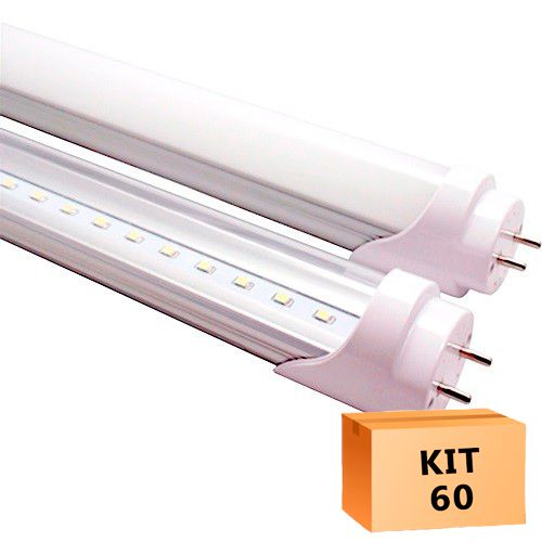 Kit 60 Lâmpada Led Tubular T8 18W 120 cm bivolt Branco Quente Transparente