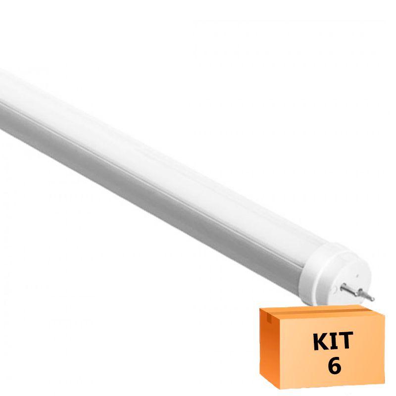 Kit 6 Lâmpada Led Tubular T5 08W 55 cm bivolt - Branco Frio