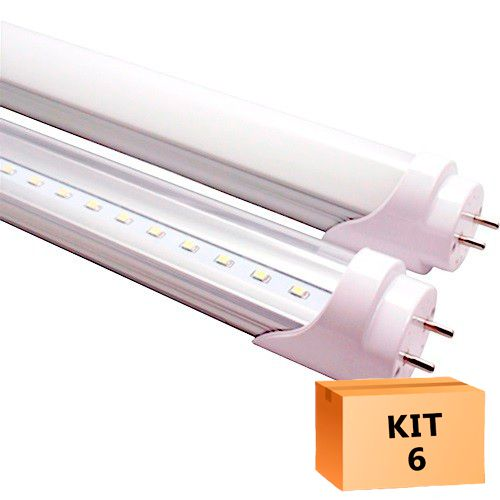 Kit 6 Lâmpada Led Tubular T8 18W 120 cm bivolt Branco Frio Transparente