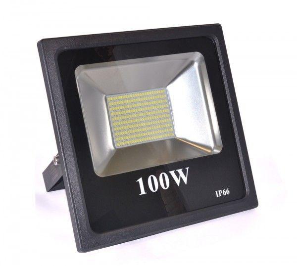 Kit 6 Refletor Led Slim SMD 100W Branco Frio Uso Externo