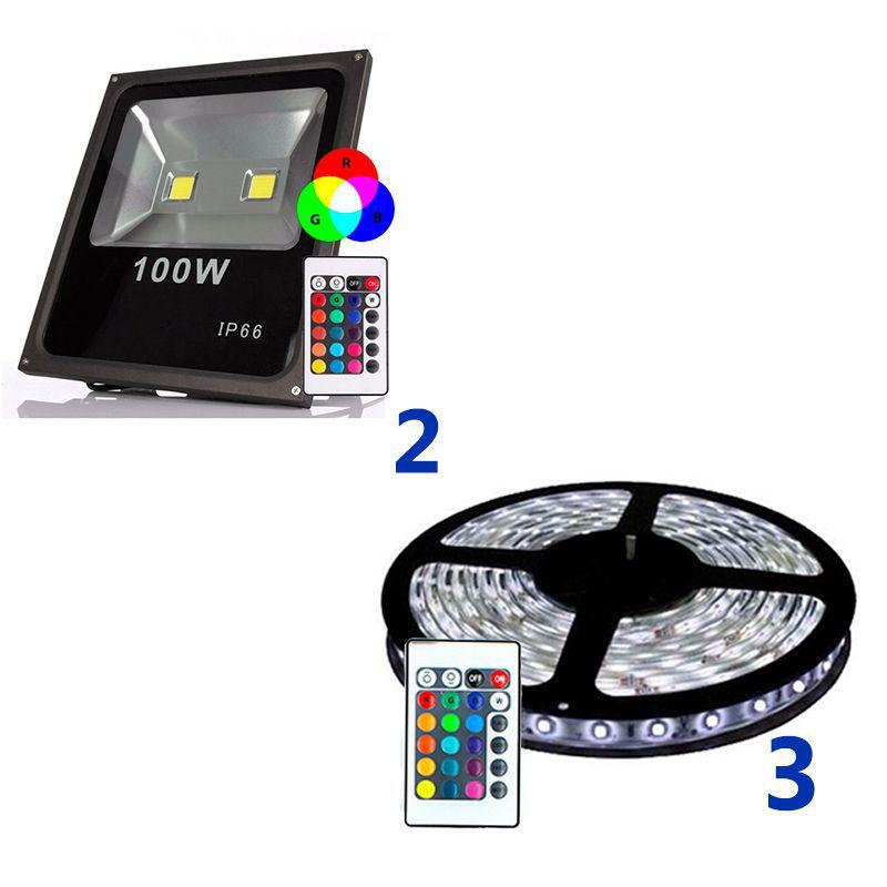 Kit Fachada Moderna e Econômica com 2 Refletores 100w RGB e 15 Metros de Fita RGB