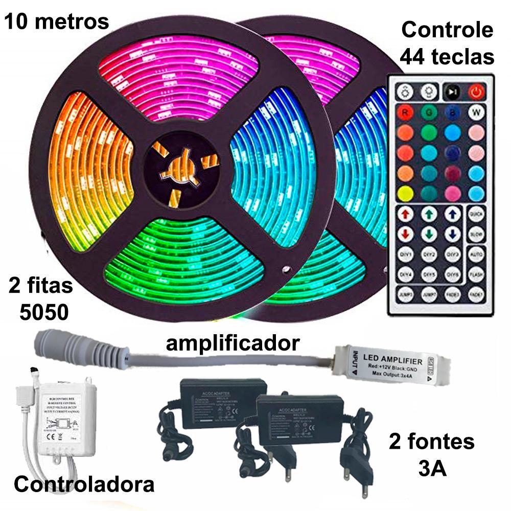 Kit Fita de LED RGB 5050 10 metros (2 rolos de 5m) com amplificador e controle